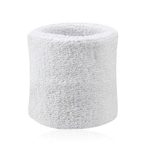 Greenlans 2 Stück Baumwoll-Armbänder Schweißbänder für Sport Tennis Gr. Einheitsgröße, weiß