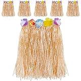 Kurtzy Falda Hawaiana Niña y Chica (Pack de 6) Falda de Paja Elástica Luau con Flores de Hibisco para Fiesta Disfraz Hawaiano con Adornos de Flores para Chicas