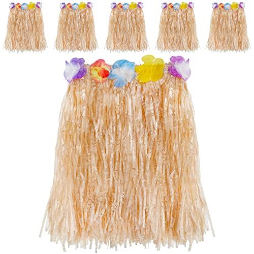Kurtzy Jupe Hawaienne en Paille (Lot de 6) - Jupe Élastiques de Fête de Luau avec Fleurs d'Hibiscus pour Fête Costumée - Tenu Hawaienne Danseuse avec Décorations Fleuries pour Filles