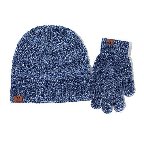 Shining Chapeau de Femmes - Deux Ensembles de Chapeau Hiver Gants Chaud Chaud tricotées Laine / 100% de Haute qualité Tissu (Blue)