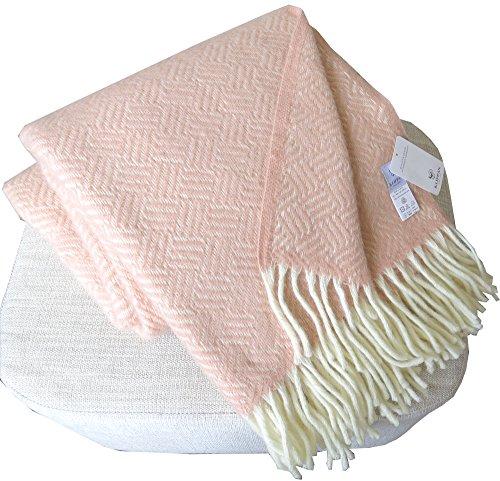 KLIPPAN Creme-rosa Wolldecke aus 100% Lambswool, 130x200cm