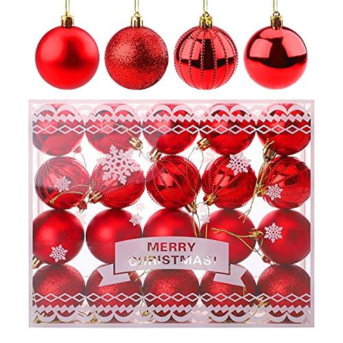 20 piezas de adornos de Navidad,adornos de bolas de Navidad de 60 mm para árbol de Navidad,bolas rojas inastillables adornos de bolas colgantes decorativos de temporada para fiestas de Navidad,bodas