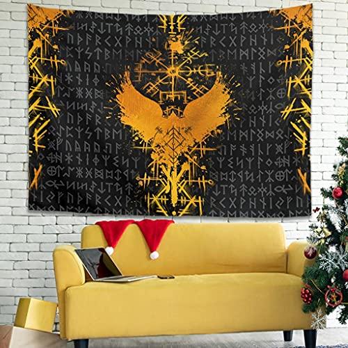 YCNJJB Tapiz Viking and Raven Vintage Wall Art – Manta de playa Raven para sala de estar, color blanco 149,9 x 149,9 cm