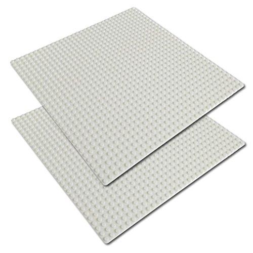 Katara - bouwplaat set van 4 25,5 cm x 25,5 cm / 32 x 32 pins, compatibel Lego 2 Platten 32*32 Noppen Set van 2 32 x 32 wit