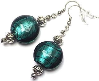 Orecchini Venezia in acciaio inox e perle piatte in vetro di Murano verde petrolio