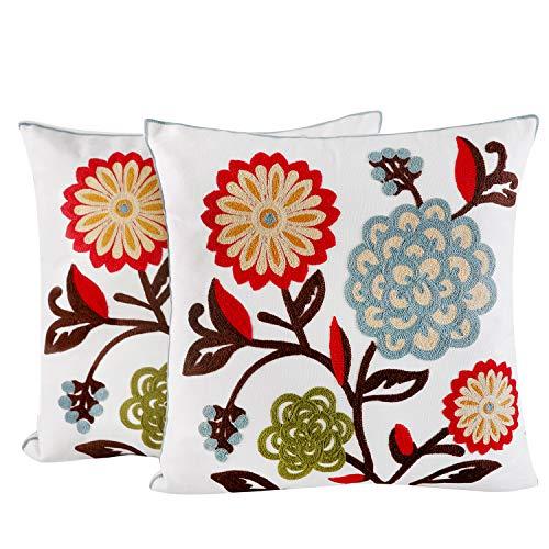 Juego de 2 fundas de cojín de 45 x 45 cm, de algodón, con bordados en diferentes diseños, resistente con cremallera estable, decoración para el hogar, para sofá, salón, dormitorio (flores multicolor)
