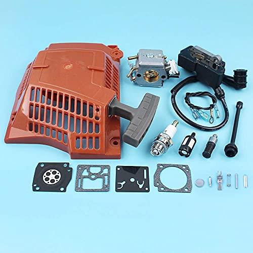 HaoYueDa Kit de diafragma de carburador de Bobina de Encendido de Arranque de Retroceso Compatible con Husqvarna 362365371372 Motosierra línea de Filtro de Aceite de Combustible bujía