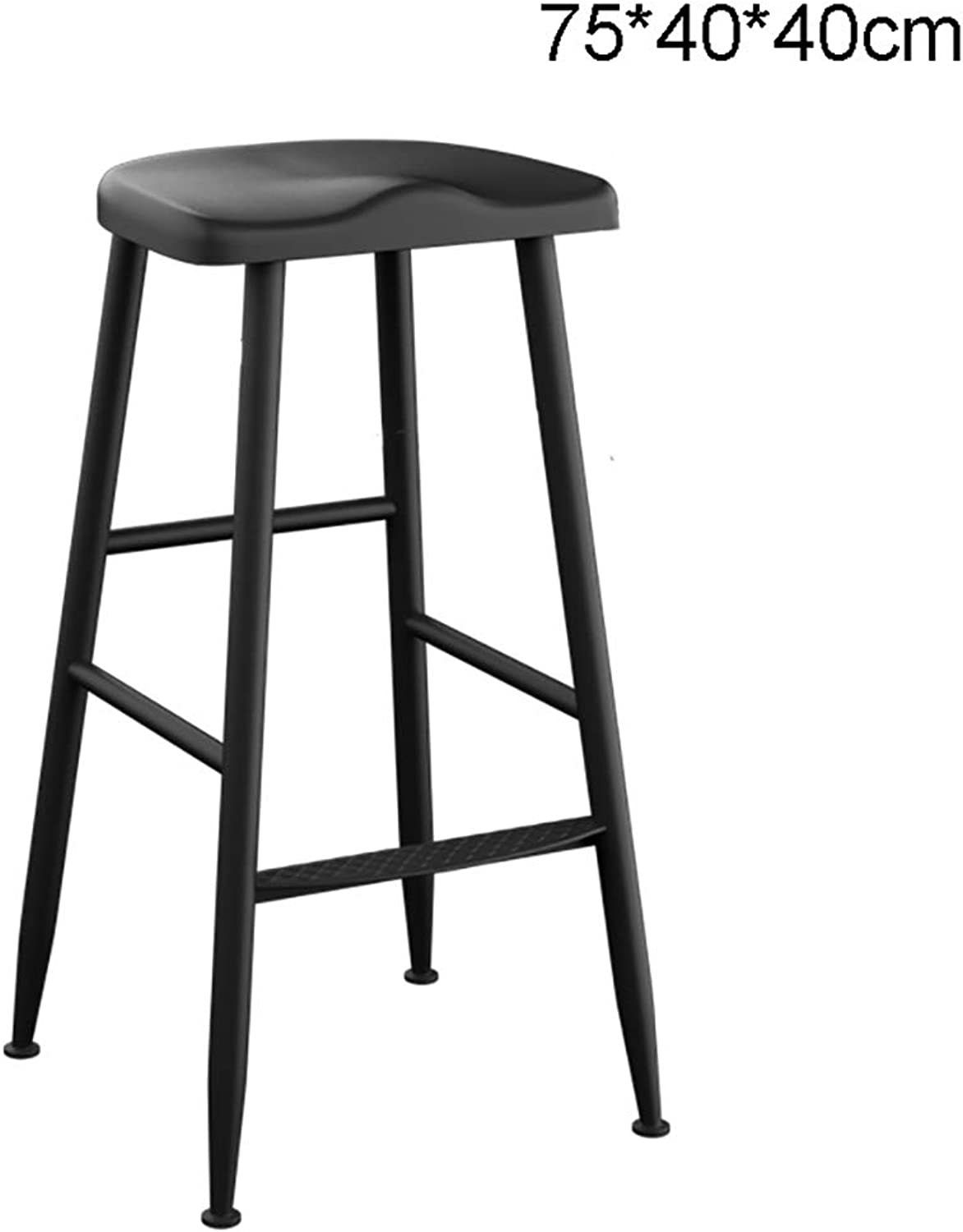 Simple Style Bar Stool Chair Iron Frame PU Cushion (Size   75  40  40cm)