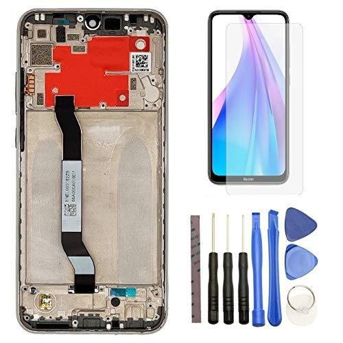 Hypak Pantalla IPS LCD para Xiaomi Redmi Note 8T (Completa con Marco) Repuesto Cristal Tactil Digitalizador (Plata)