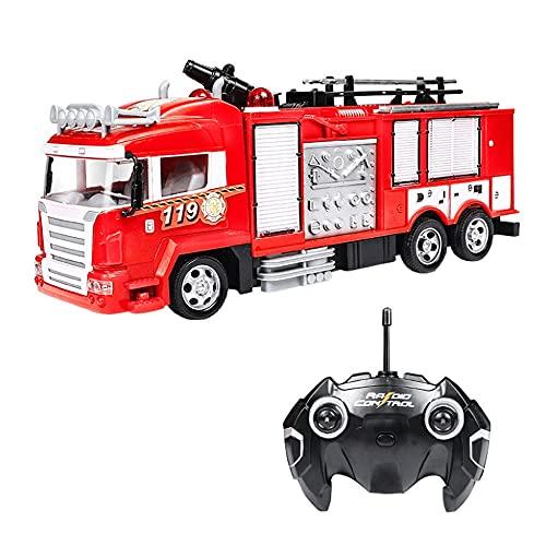 YANDFXSOP RC Fire Truck 2.4G Control Remoto Fire Motor de Fuego One-Button Spray Spray Sound and Light Fire Truck Juguete Educativo Juguete Regalos para Niños Boys Girls 3 4 5 6