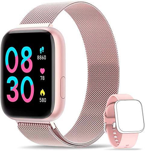 WWDOLL Smartwatch Damen Touch Farbdisplay Fitness Tracker IP67 Wasserdicht Fitnessuhr Armbanduhr mit Schlafmonitor Pulsuhr Blutdruckmessung Sportuhr Smart Watch für iOS Android