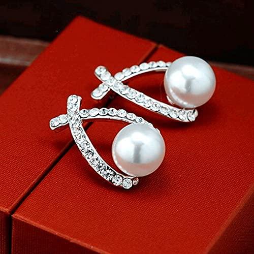 LCUK Corea, Pendientes de botón de Cristal Cruzado de Color Dorado y Plateado para Mujer, Elegantes y Bonitos Pendientes de Perlas, joyería al por Mayor