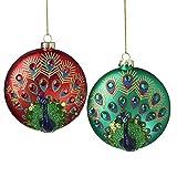 Luxury Juego de 2 Bolas de Navidad iridiscentes de 11 cm, Color Rojo, Verde, Morado y...