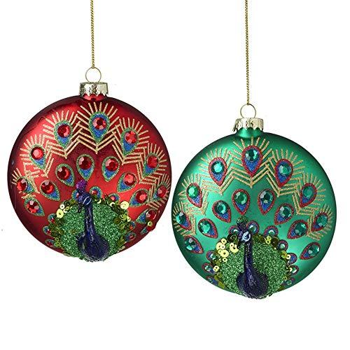 Luxury Juego de 2 Bolas de Navidad iridiscentes de 11 cm, Color Rojo, Verde, Morado y Dorado
