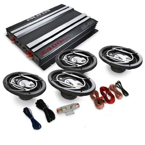 auna 4.0 Auto Anlage Lautsprecherset AutoBoxen HiFi Komplett-Set Platin Line 420 2400W 4-Kanal Endstufe + 4X 15x23cm Autolautsprecher