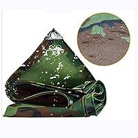 ターポリン迷彩防水シートカバーボードグランドターポリン厚み付け日焼け止めリノリウムアウトドア車のレイン布東武オックスフォード布キャンバス(色:グリーン、サイズ:6x6m) (Color : Green, Size : 3x5m)