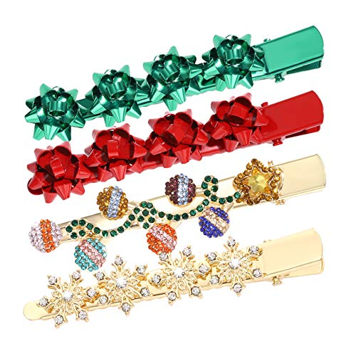 Christmas Hair Clips for Women Girls Xmas Present Bow Hair Pins Rhinestone Snowflake Light Hair Barrettes Hair Accessories for Festive Holiday Party Favors (Chriatma bow snowflake lights hair clips)