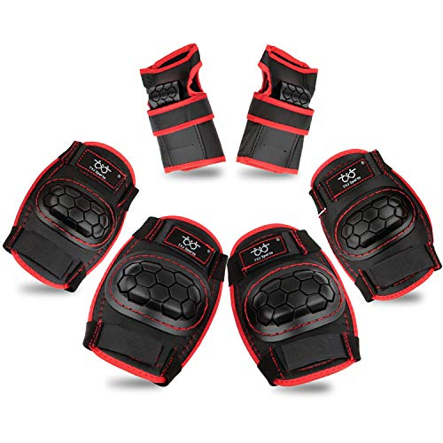 Kids Knee Pads and Elbow Pads with Wrist Guards Protective Gear Set for Skating Rollerblading Skateboard BMX Scooter Cycling (Size S Black for Boys)