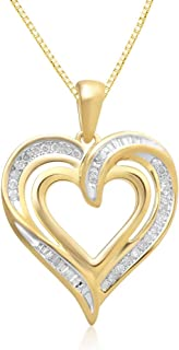 Jewelili Round and Tapered Baguette Diamond Heart Pendant Necklace, 18'' Box chain