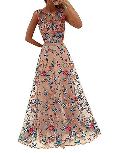 LaoZan Donna Eleganti Vestiti da Sera Lungo Floreale Senza Maniche Abito da Cerimonia Partito Vestitini Pink M