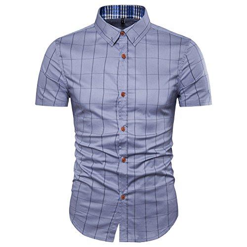 Muse Fath Mens Short Sleeve Dress Shirt-Easycare Short Sleeve Shirt-Grey-M