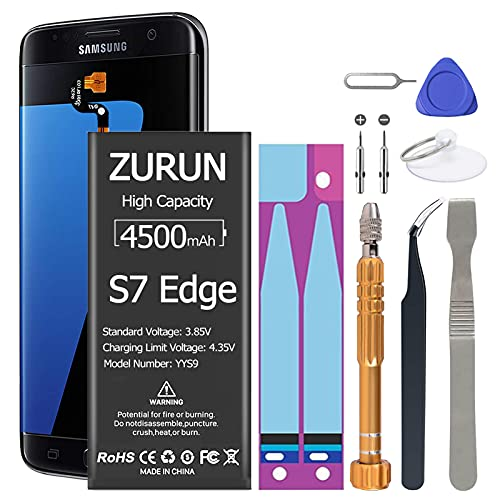 Galaxy S7 Edge Battery Upgraded ZURUN 4500mAh Li-Polymer Battery EB-BG935ABE Replacement for Galaxy S7 Edge G935 G935V G935A G935T G935P with Screwdriver Tool Kit [2 Year Warranty]