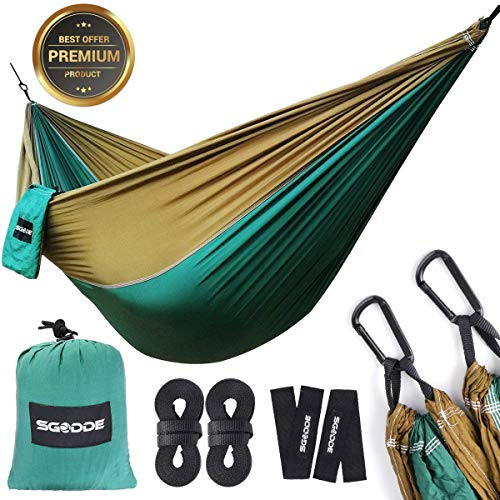SGODDE Ultra-Light Hammock, Travel Camping Hammock, 300kg Load Capacity,Breathable,Quick-drying Parachute Nylon | 2 x Premium Carabiners,2 x Nylon Slings Included | For Outdoor Indoor Garden