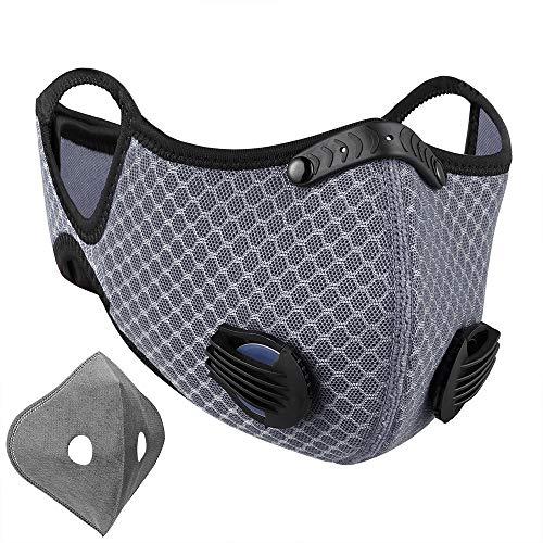 NUÜR Gesichtsmaske mit Dual-Luftfiltrationsventilen, Nasenklammer aus weichem Kunststoff und Gurt zum Schutz, waschbar, langlebig für Radfahren, Laufen
