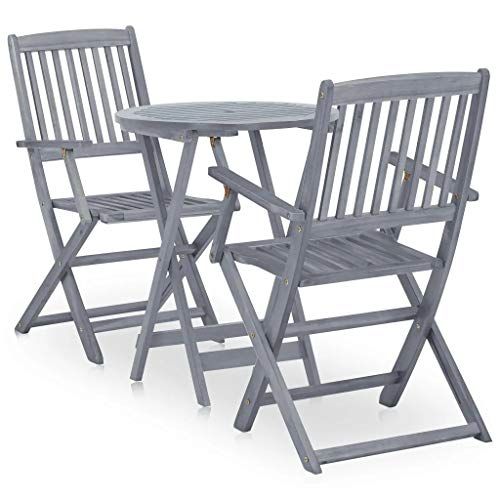 ZAMAX 3-Piece Eucalyptus Wood Folding Patio Bistro Set for Backyard, Balcony, Porch, Deck with Foldable 2 Chairs and Small Round Coffee Table, Gray Wash