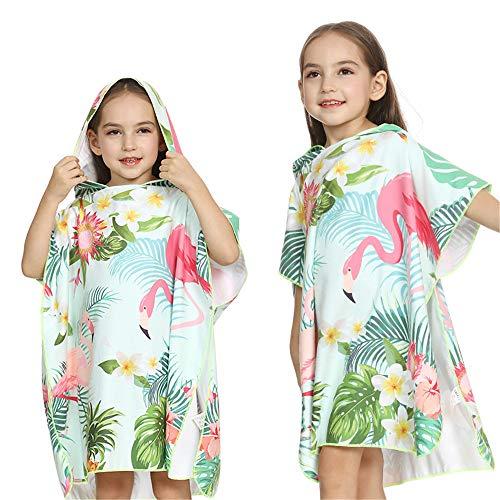 MOMIN-HM Kinder Umhang Strandtuch Kinder, die Badetuch Flamingo Druck mit Kapuze Strandtuch Poncho für Surfen, Schwimmen, Tauchen, Nassanzug ändern (Farbe : Grün, Größe : L(121-150cm))