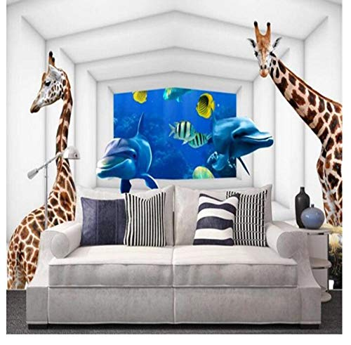 Shuangklei Individueel behang 3D stereoscopisch giraffe fotobehang oceaan behang voor kinderkamer behang voor woonkamer wooncultuur 200 x 140 cm.