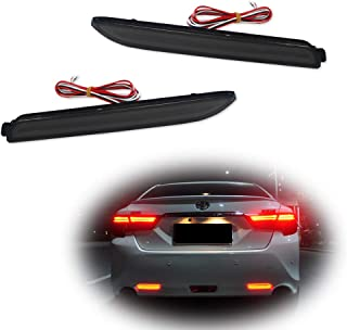 GTINTHEBOX 2PCS 3D Optic Smoked Lens Red LED Rear Bumper Reflectors Brake Tail Lights Lamps For Lexus RC250 RC350 IS-F GX470 Toyota REIZ Sienna Matrix Venza Avalon