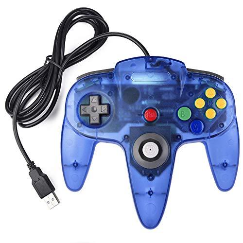 suily USB Controller für N64-Spiele, Classic Retro N64 Bit USB Controller für Windows PC MAC Linux Raspberry Pi 3(klares Blau)