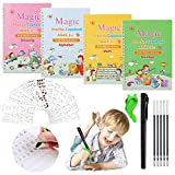 4Pcs Magic Practice Copybook for Kids, Magic Calligraphy Book Reusable Handwriting Practice Book Set with Pen & Aid Pen Grip, Repeatedly Letter Writing Copybook