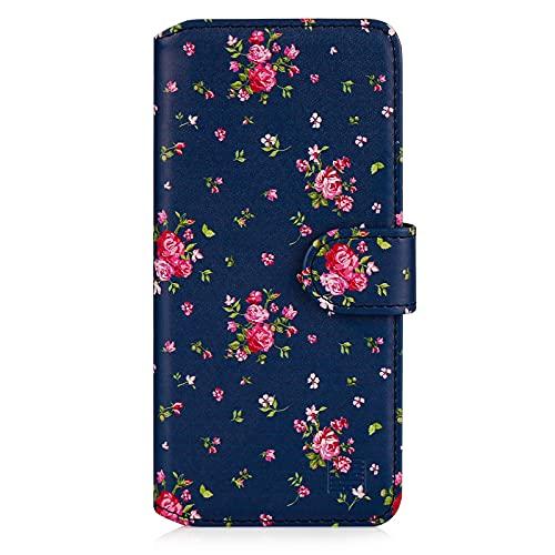 32nd Floreale Series 2.0 - Custodia a Portafoglio in Pelle PU per Google Pixel 5A, Case Realizzato in Pelle Sintetica con Diversi Comparti e Chiusura Magnetica - Vintage Rosa Blu