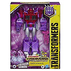 9-inch Shockwave figure: Shockwave figure is an impressive 9 inches tall Power-up shockwave with energon amour: Combine the included energon amour with shockwave to convert him into his powered-up mode. Press figure's shoulders to activate amour-up w...