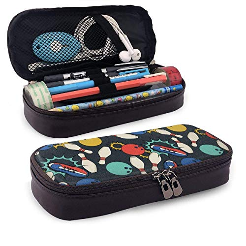 fxxy Stifttasche/Federmäppchen Leather Pencil Case for School Students Office Bowling Pen Pencils Box