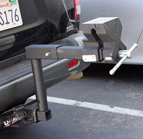 9TRADING Tow Hitch Truck 6' Bench Vise Fits 2' Hitch Receiver With Raise Neck