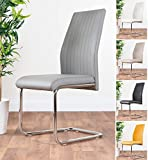 <span class='highlight'>Furniture</span>box UK 2x Modern Stylish Contemporary White Black Grey Lorenzo Faux Leather And Chrome Metal Kitchen Dining Chairs (2x Elephant Grey Lorenzo Chairs)
