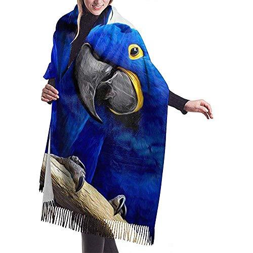 Blauwe papegaai knuffelen afdrukken kasjmier sjaal Womens casual warme sjaal wrap sjaal groot