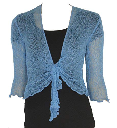 Rebeca estilo bolero simple, de punto, corta, con lazada Azul azul celeste Talla única