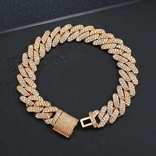 BJGCWY 12 mm Heavy Prong Pulsera Cadenas Caja Hebilla Collares Gargantilla de circón Helado para Hombres Joyería con Espalda sólida Pulsera de Oro de 8 Pulgadas y 20 Pulgadas