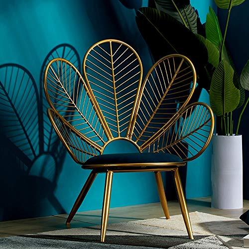 ZSAIMD Nordic pavo real Forma living room chair Silla Sofá Hierro forjado Ins silla del ocio creatividad personalizada simples sillas minimalista Brazo de ocio cenar patas de la silla con Golden Medio
