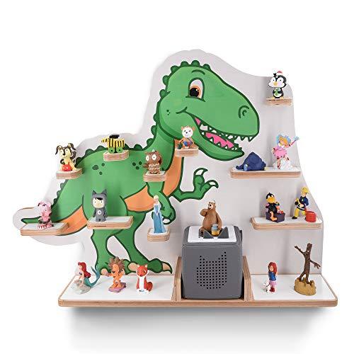 Kinder Regal für Musikbox I Motiv T-Rex I Geeignet für die Toniebox und ca. 45 Tonies I Geschenk I Geschenkidee I Spielen I Sammeln I Aufstellen oder Aufhängen - mit breiten Boden
