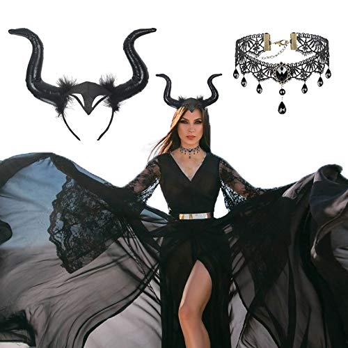 CHALA 2TLG Königin Hörner Kopfschmuck Horn Kostüm mit Gothic Spitze Halskette Schwarz Kopfbedeckung Teufel Haarschmuck Karneval Damen Kostüm Hexenkostüm für Fasching Cosplay Maskerade Halloween