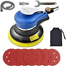 Air Random Orbital Sander, Pneumatic Palm Sander, 5-Inch Sander with Dust Bag by Autolock, Sandpapers Low Vibration and Heavy Duty for Wood, Composites, Metal, 2021 Upgraded Version