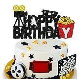 KAPOKKU Happy Birthday Movie Cake Topper Camera Roll Hollywood Theme Cake Party Decorations