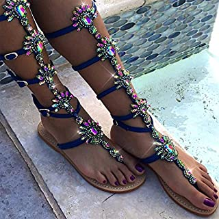 Summer Flats Sandal Gladiator Gold Rhinestone Knee High Buckle Strap Woman Boots Bohemia Style Crystal Beach Shoes(Gold,35)