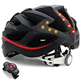 LIVALL BH62 Smart Bling Bike Helmet with Lights LED on The top and Back, Built-in Windbreak Mic, G-Sensor, Bluetooth Speaker, with Bling Jet Controller Cycling Helmet (Black/RED)