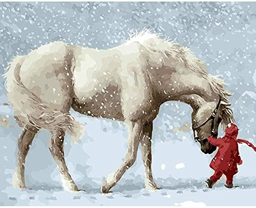 XZJXGZ 1000 Pieces puzzel volwassen Decompression Paard in de sneeuw 70x50cm puzzel Kinderen Educatief speelgoed DIY huisdecoratie